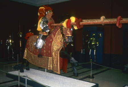 jousting: Medieval knight and horse in jousting tournament armor, Zwingerhof Armory,  Dresden,  Germany Editorial