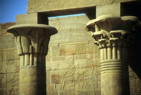 Detalle de la columna con jeroglíficos egipcios, Kom Ombu Egipto, Oriente Medio Foto de archivo - 11467690
