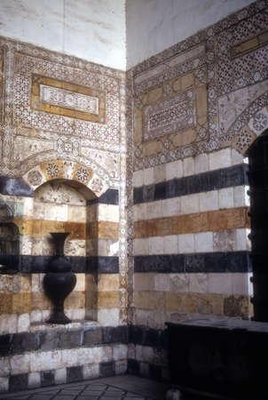 Detail ablaq stijl muren van Azem Palace, Damascus Syrië Redactioneel