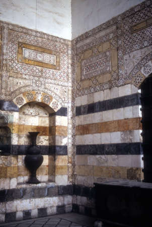 damascus: Detail ablaq style walls of Azem Palace,  Damascus Syria Editorial