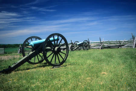Napoleon artillery battery  near Angle  Gettysburg National Historical Battlefield, Pennsylvania,  Stock Photo