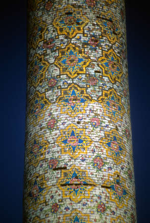 Details of floral mosaic tiled columns, Masjud-e Jame (Friday Mosque)  Qazvin Iran, Middle East