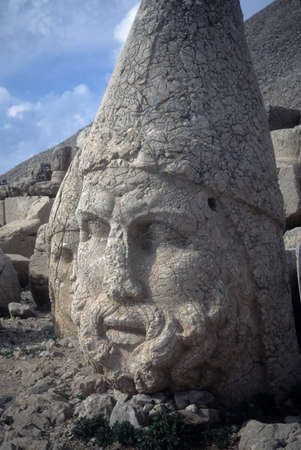 Zeus head statue at Nemrut Dag colossal statues guarding ancient tomb,  Turkey photo