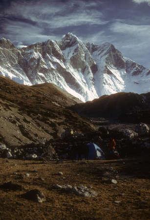 High peaks and glaciers in the   Khumbu Himalaya, Nepal, Asia Stock Photo