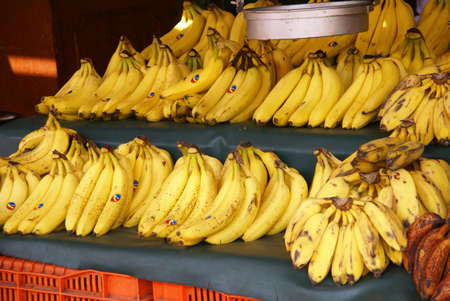 Bananen in marktkraam, Merced Markt, Mexico Stad, Mexico Stockfoto - 11511070