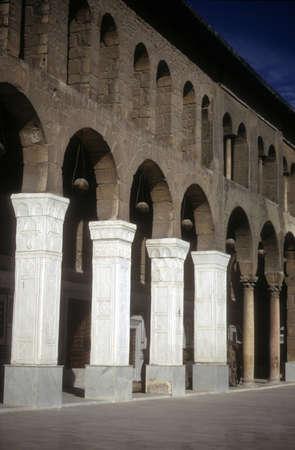 Binnenplaats kolommen, Ommayad Moskee Damascus Syrië