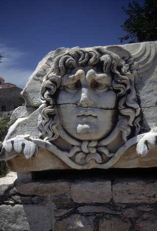 Hoofd van Medusa, de Griekse tempel, Didyma, Turkije Stockfoto