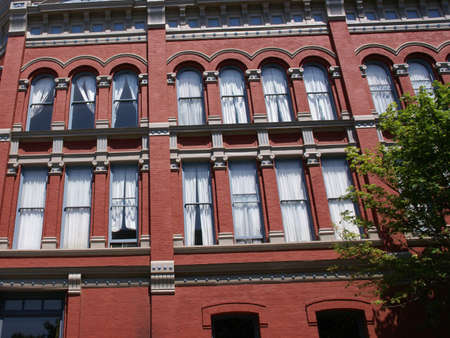pilasters: Victorian style old building, 19th century facade,  Port Townsend, Pacific Northwest, Washington