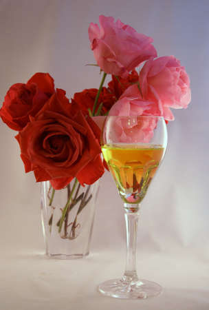 Wine & roses - flowers in a crystal vase,    Seattle   photo