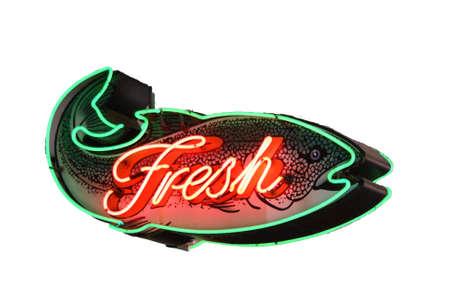 neon fish: Fresh Fish neon sign,   Isolated on white