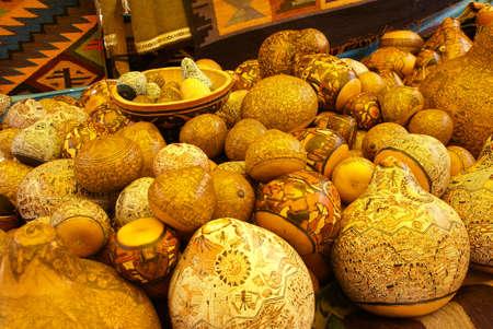 quechua: Beautiful handcarved gourds, Pisac market,  Cusco, Peru, South America