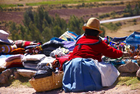 quechua indian: Indian woman selling craft items, Puca Pucare,  Cusco, Peru, South America Stock Photo