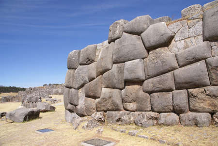 close fitting: Massive stone Inca fortress walls,  Sacsayhuaman,  Cusco, Peru, South America
