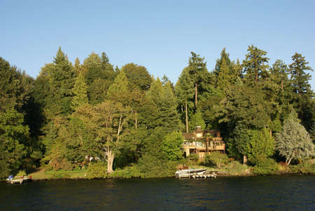 Waterfront home on Lake Washington,  , Seattle garden, Pacific Northwest photo