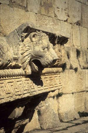 pilaster: Lionshead waterspout,  Temple of Jupiter, Baalbek, Lebanon