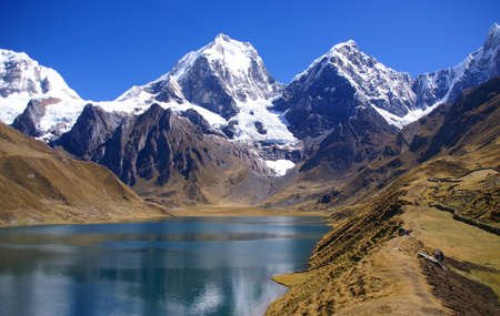 Cordillera Huayhuash, Siula and Yerupaja mountains   Peru, South America 스톡 콘텐츠