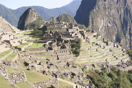 ワイナピチュ山が見渡せるインカ遺跡マチュピチュ、ペルー、南アメリカ