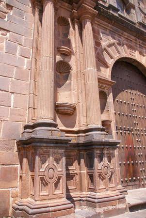 Baroque Spanish Gateway,  Inca temple of the sun (Koricancha  Qorikancha) Cusco,  Peru, South America