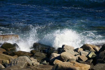 Breaking waves on granite ledges,  Schoodic Point, Acadia National park, Maine, New England  photo