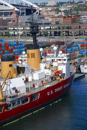 guard ship: US Coast Guard ship on Seattle waterfront,  Puget Sound,  Pacific Northwest  Editorial