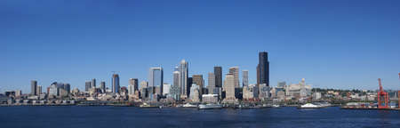 Panorama - Seattle waterfront skyline, downtown,  Puget Sound,  Pacific Northwest