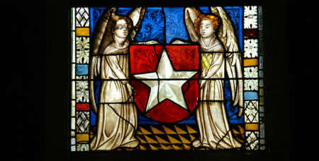 Stained glass, angels, religious scenes,   Cloisters, New York City