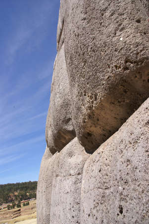 close fitting: Fine stonework in Inca fortress walls,  Sacsayhuaman,  Cusco, Peru, South America