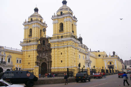 LIMA PERU 30 AUG 2008 -   Cathedral entrance, Lima, Peru, South America 에디토리얼