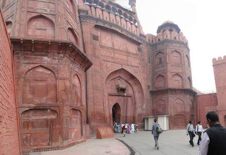 OLD DELHI, INDIA - NOV 3  - Visitors approach the Red Fort's main gate  on Nov 3, 2009,  in Delhi, India.