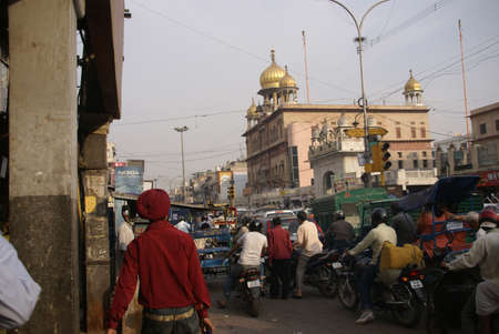 gridlock: OLD DELHI,INDIA - NOV 3 - Traffic inches forward near Chandi Chowk on Nov 3, 2009  in Old Delhi, India. Editorial
