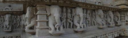 Elephant sculptures on base of  Varaha Temple, Khajuraho in  India, Asia