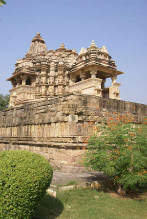 Elaborate sculptural decoration on the exterior of the  Jagadambi Temple Khajuraho,  India Stock Photo - 11674683