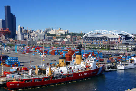 dockyard: SEATTLE WASHINGTON 27 JUN 2008 -  US Coast Guard ship on Seattle waterfront, Puget Sound,  Pacific Northwest