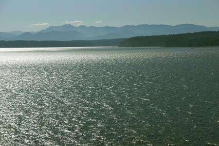 puget: Sunset - Puget Sound and Olympic Mountains,   Washington, Pacific Northwest  Stock Photo