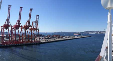 Dockyard cranes, Seattle waterfront  Puget Sound,  Pacific Northwest