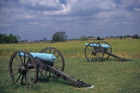 Civil War cannon at the Antietam National Battlefield, American  Civil War,Maryland