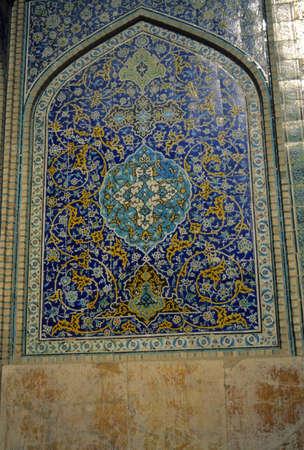 Intricate Persian mosaics, Emam Mosque,  Isfahan, Iran