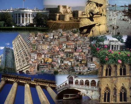 Montage - World bezienswaardigheden - Witte Huis, Libanon, Syrië, praag Redactioneel