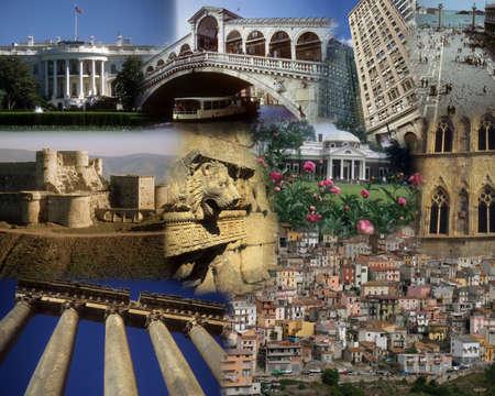 Montage - World landmarks - White House, Lebanon, Syria, prague    Editorial