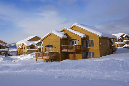 townhouses: Townhouses after heavy snowstorm,  Steamboat Springs, Colorado, Rocky Mountains