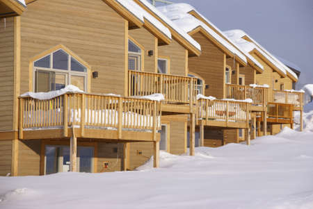 Townhouses after heavy snowstorm,Steamboat Springs,Colorado, Rocky Mountains