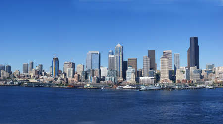 Panorama - Seattle waterfront skyline, downtown,  Puget Sound,  Pacific Northwest  photo
