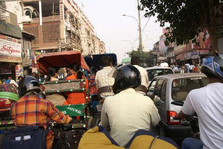gridlock: OLD DELHI,INDIA - NOV 3 - Traffic inches forward near Chandi Chowk in Old Delhi, India on Nov 3, 2009.