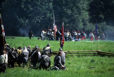 SEATTLE - JUL 10 - Union artillery fires their gun in a Civil War battle reenactment on July 10, 1996 near Seattle.