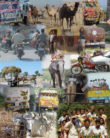 MUMBAI INDIA 2003 - Montage - India op de weg Redactioneel