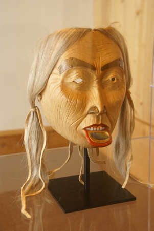 first nations: Mask, Wood carving, human face, First Nations  Native American,  Prince Rupert, British Columbia, Canada