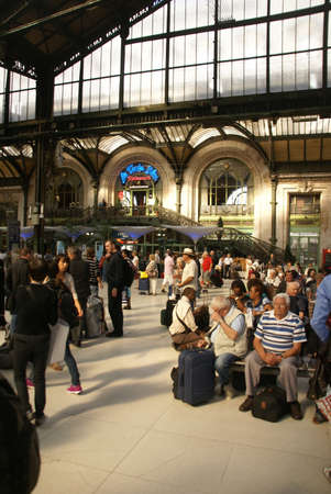 PARIS - OCT 3 - Passengers arrive at the Gare de Lyon railway station,  on Oct 3, 2011, in Paris, France.