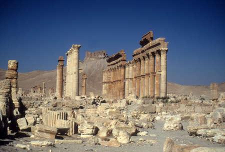 Ruined kolommen, oude stad, Palmyra, Syrië, Midden-Oosten Redactioneel
