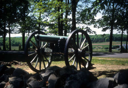 gettysburg battlefield: Napoleon, 12 lb cannon, Confederate lines, Civil War battlefield,Gettysburg National Battlefield Park,Pennsylvania