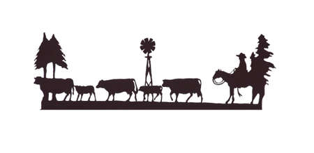 Buckaroos - cowboy  on his horse, herding cattle, Western art, iron work,Wyoming, Rocky Mountain west Banco de Imagens - 11751238